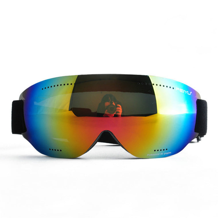 Outdoor Women And Men Ski Goggles Windproof Anti-fog UV Ski Glasses Skiing Snowboarding Cycling Goggles No Frame + Single Lens
