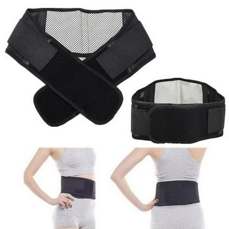 Self-heating Magnetic Therapy Waist Belt Adjustable Pad Lumbar Back Waist Support Brace Double Banded