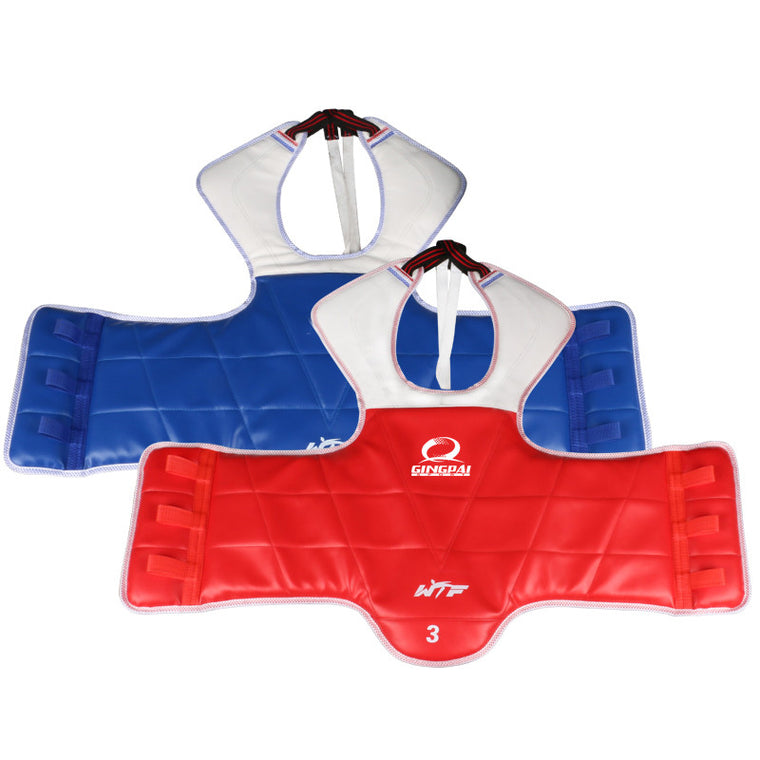 Taekwondo WTF Sparring Gear Chest Guard WTF TaeKwonDo karate Solid Reversible Chest Protector for kids adult free shipping