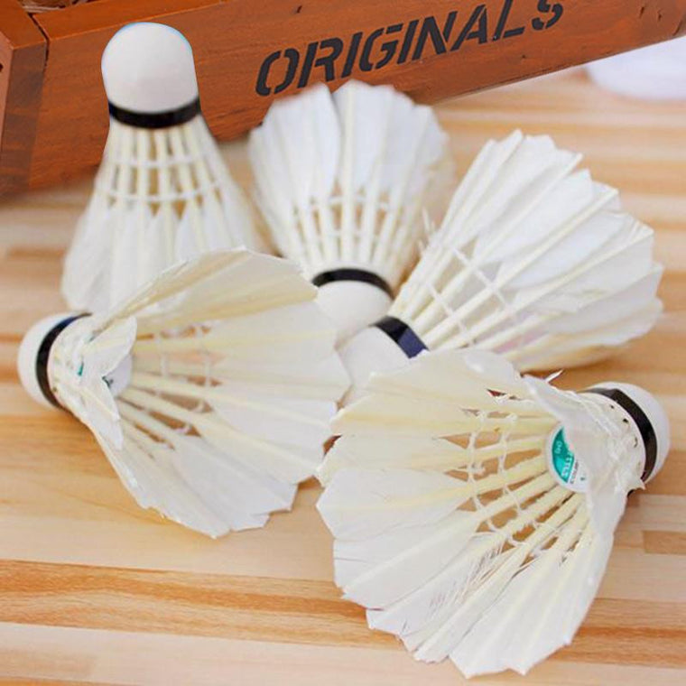5Pcs Plastic Professional Badminton Balls Portable White Goose Feather Training Badminton Ball Shuttlecocks Sports Accessories