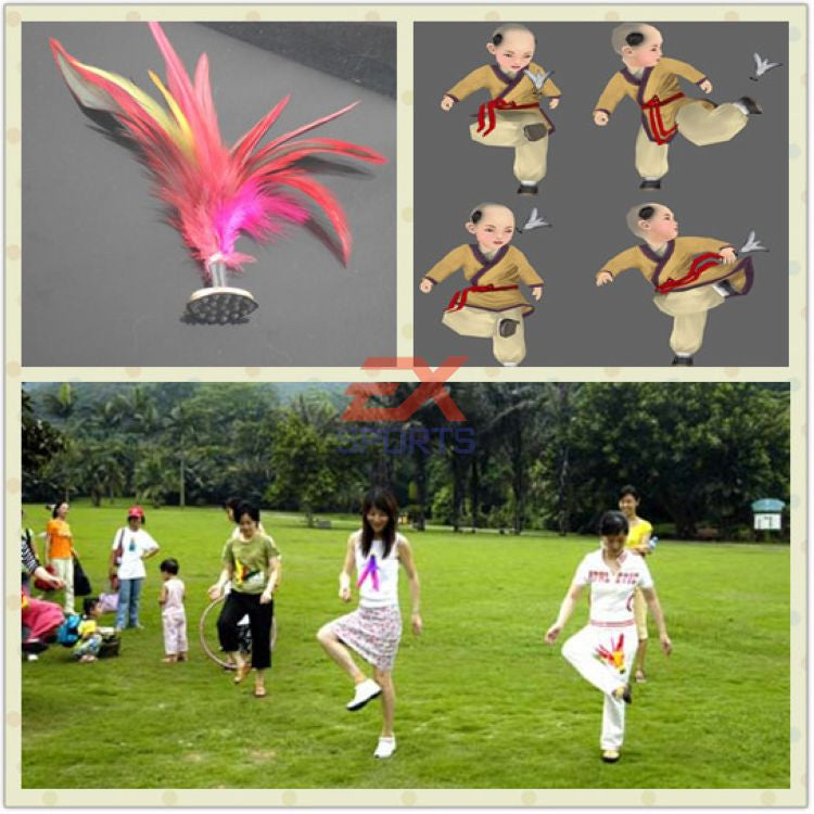 5X New 3*12cm Sport Kick Shuttlecock Chinese Jianzi Toy Play JIANZI Game Kick Feather Shuttlecocks High Quality ES1050