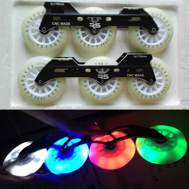 110mm LED Flash Wheel with 3X110mm Inline Speed Skating Frame Green Blue Red White Light PU Wheel + Aluminium Alloy CNC Base
