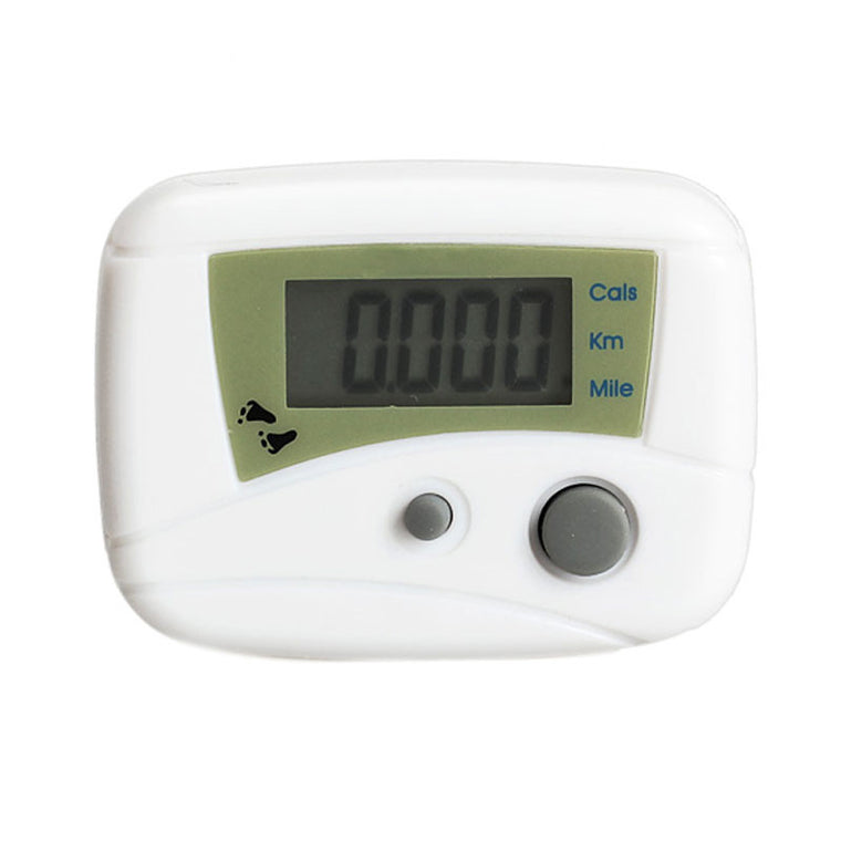 Electronic LCD Run Step Pedometer Walking Distance Calorie Kilometer Miles Counter Passometer White