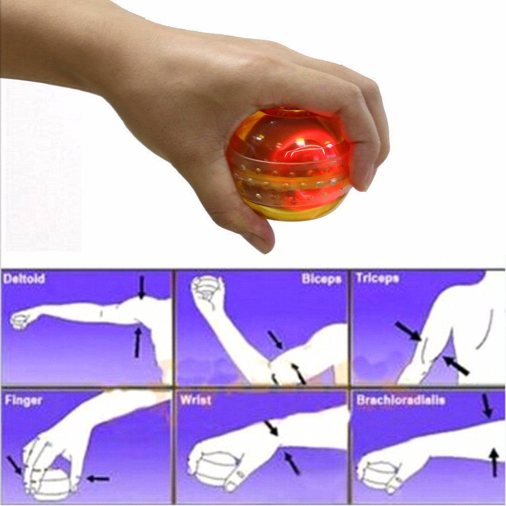 Blue/Orange Flashing Sports Fitness Gyro Arm Hand Wrist Muscle Force Exerciser Power Ball Trainer