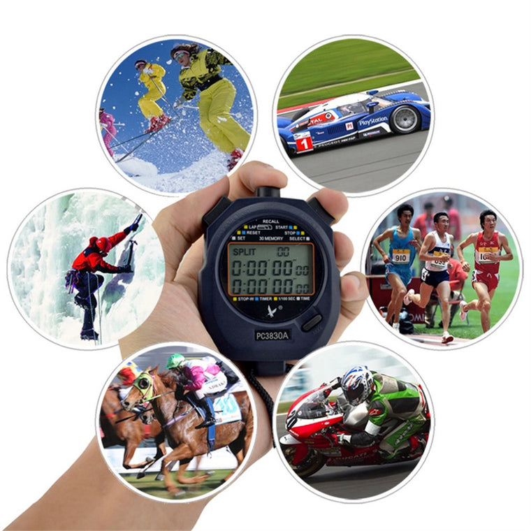 Professional Stopwatch LEAP PC3830A  Large-screen Digital LCD Timer Chronograph Counter with 3 Row 30 Memories Stop Watch