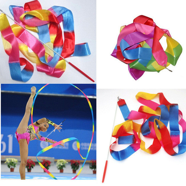 Newly Design Dance Ribbon Gym Rhythmic Gymnastics Rod Art Ballet Twirling Stick 4m B2Cshop