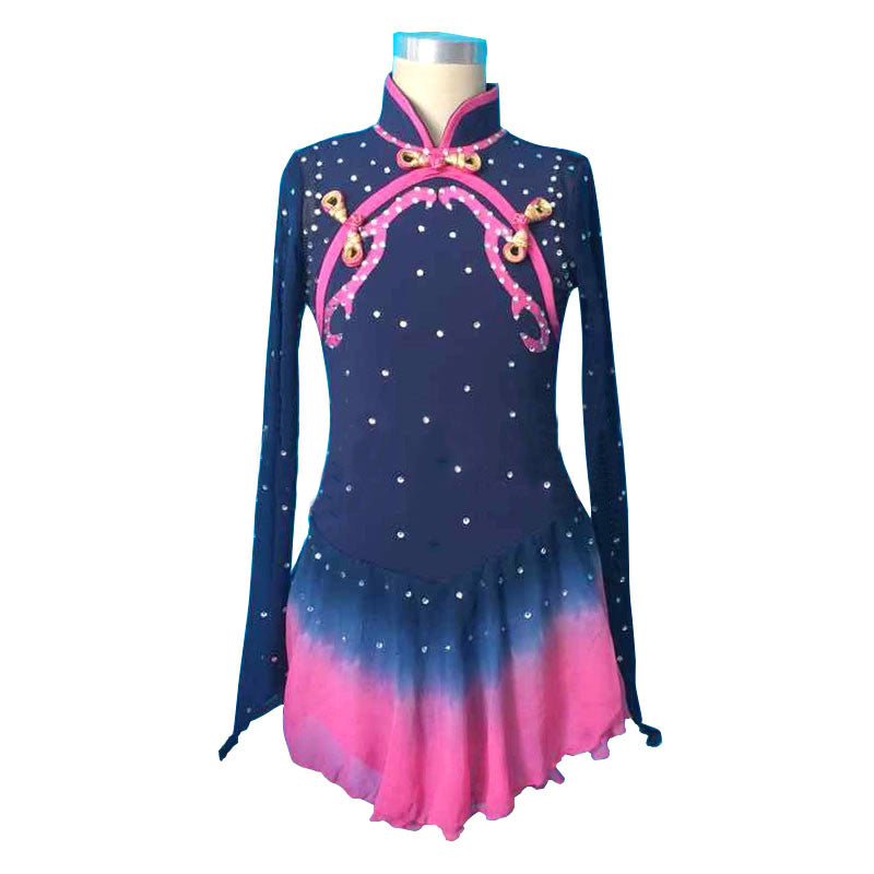 Customized Costume Ice Figure Skating Gymnastics Dress Competition Adult Child Girl Skirt Performance Black Chinese Style Collar