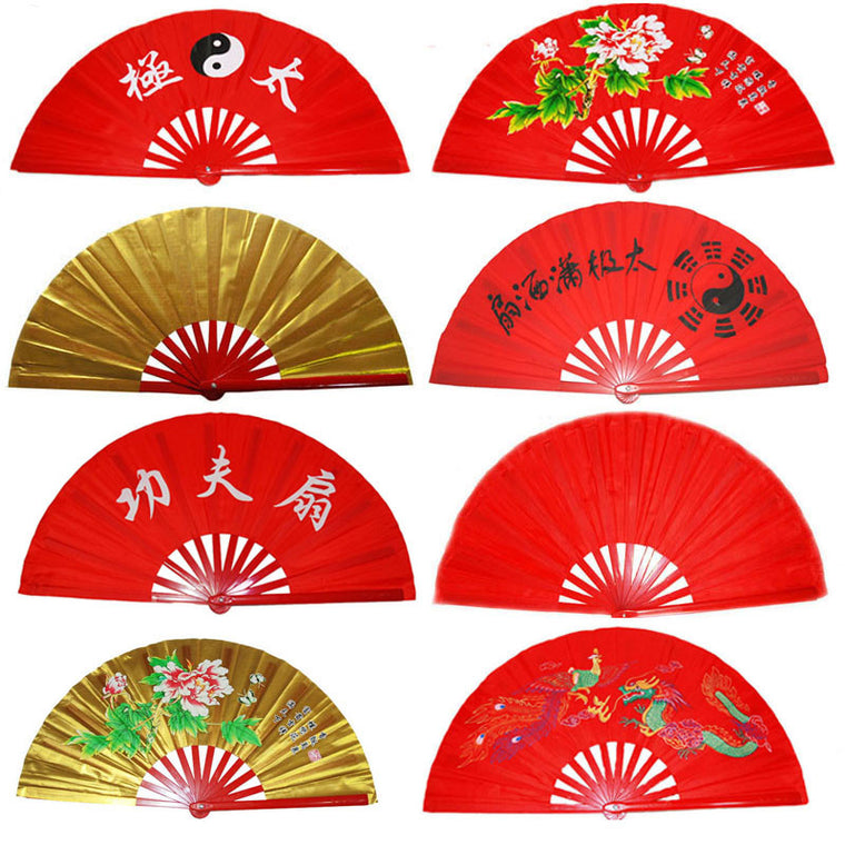 Taiji Kung Fu Fan pure plastic Taiji Fan Tai Chi fan double side fan right and left hand
