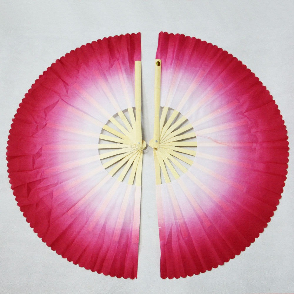 5colors gradient bamboo bone mulan double fan kung fu/martial arts performance dance tai chi  fan 1pair