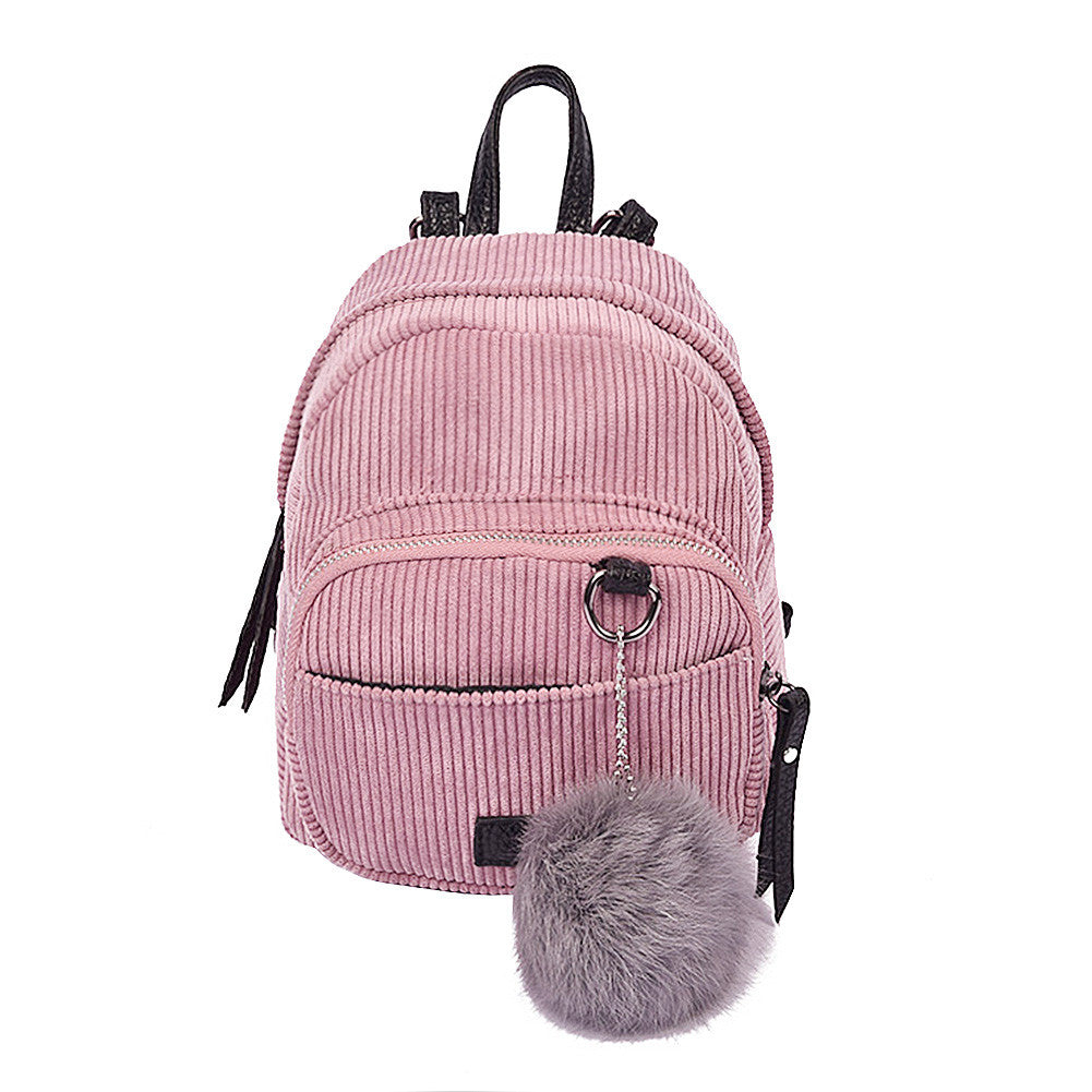 New Fashion Spring Women Backpacks Corduroy Simple Mini Rucksack Girls Casual School Bag Ladies Shoulder Bag with Plush Toy Pink
