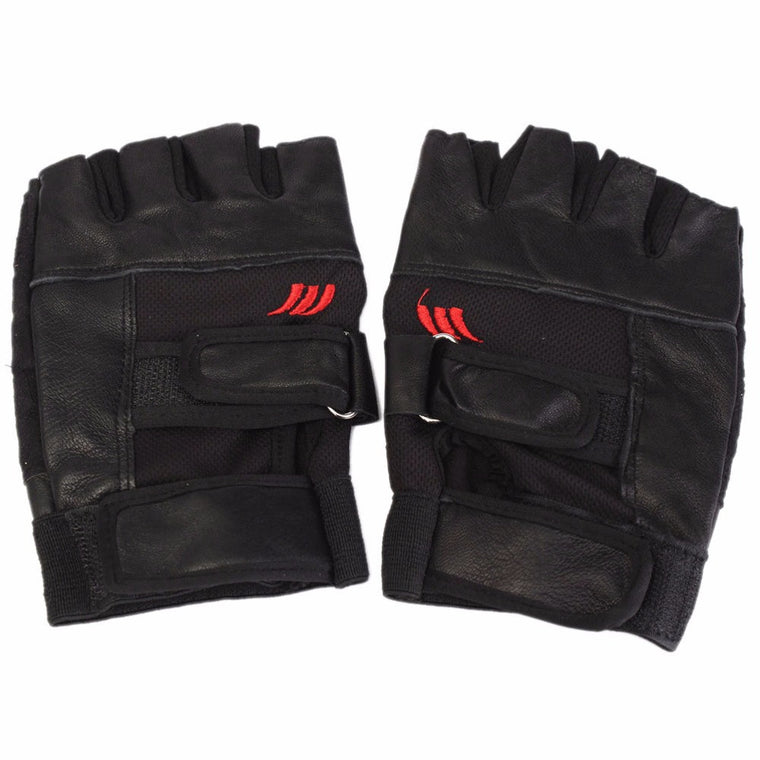 1Pair Black PU Leather Weight Lifting Gym Gloves Workout Wrist Wrap Sports Exercise Training Fitness
