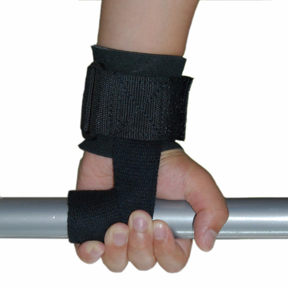 Wellsem 1 pair Weight Lifting help Gloves Chin Up Supporters Grip Barbell Pads Straps with Wrist Support