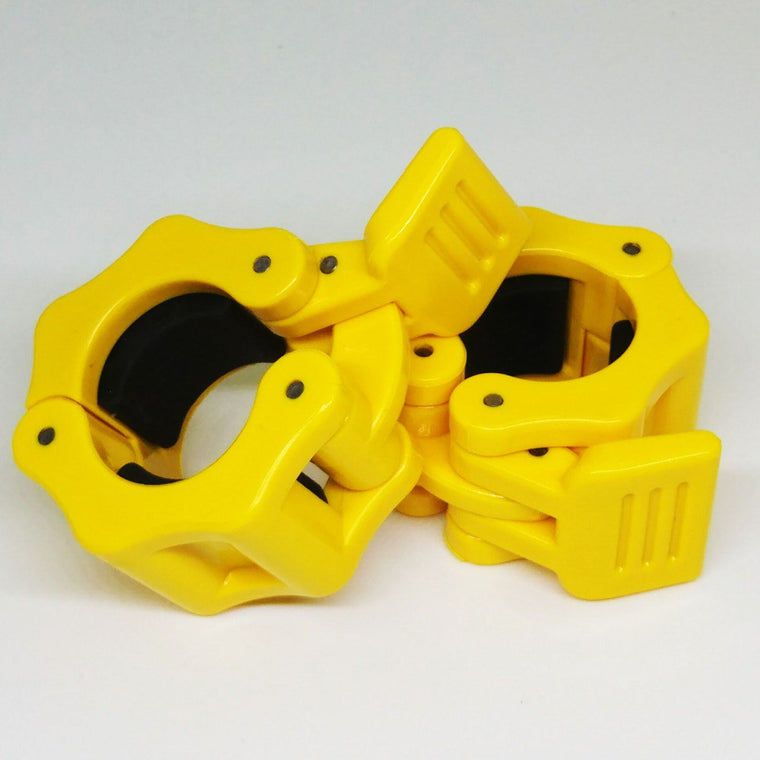 1 Pair Diameter 30mm Weight Lifting Dumbbell Collar Lock Barbell Spinlock Clips Gym CrossFit Fitness Clamps Yellow