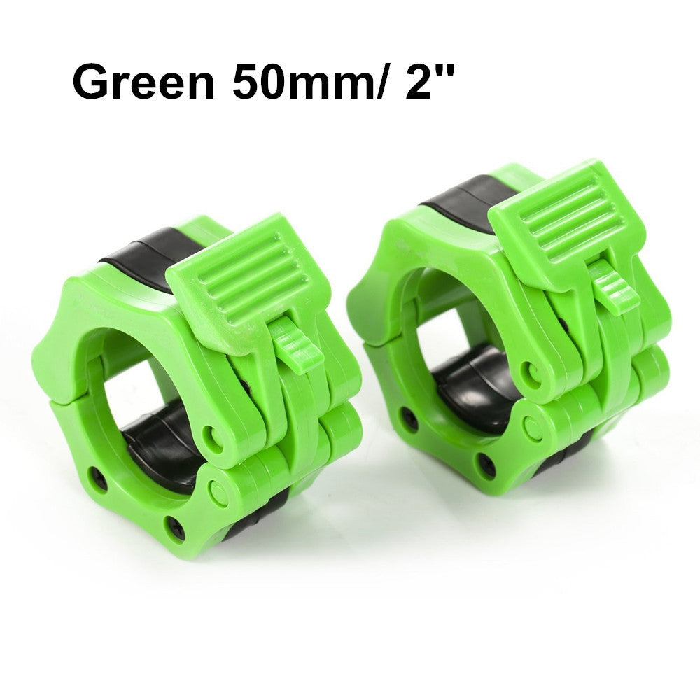 "1 Pair 2"" Olympic Spinlock Collars Barbell Collar Lock Dumbell Clips Clamp Weight lifting Bar Gym Fitness Body Building Green"