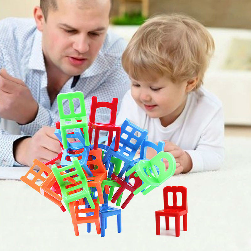 18Pcs/Lot Shape Plastic board Game Toys Plastic Balance Stacking Chairs Block Toy Desk Educational Game Balancing Training Toys