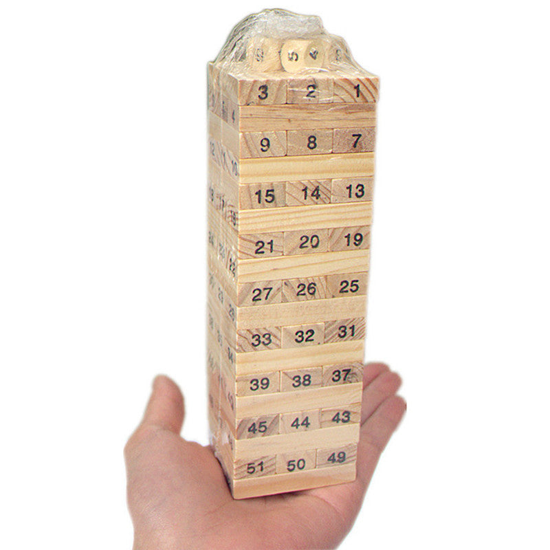 Mini Wooden Tower Wood Building Blocks Toy Domino 54pcs Stacker Extract Building Educational Jenga Game Gift 4pcs Dice