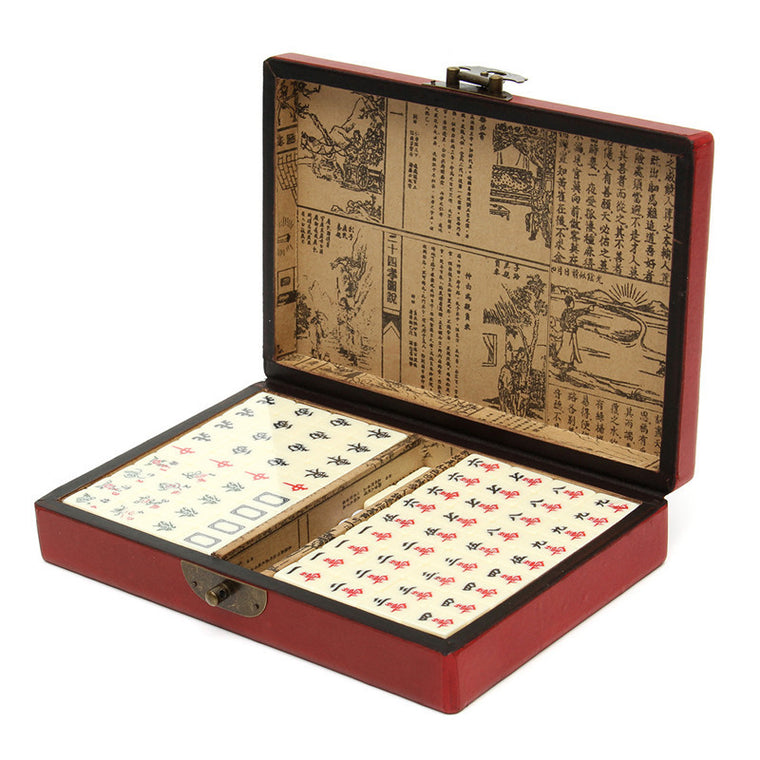 144 Tiles Mah-Jong Set Multi-color Portable Vintage Mahjong Rare Chinese Toy With Leather Box
