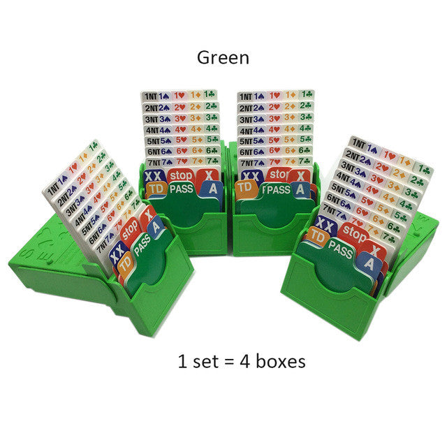 (Set of 4) Green Bridge Partner Bidding Device Bridge Bidding Box with Bridge Playing Cards Official In Tournment Texas Holdem