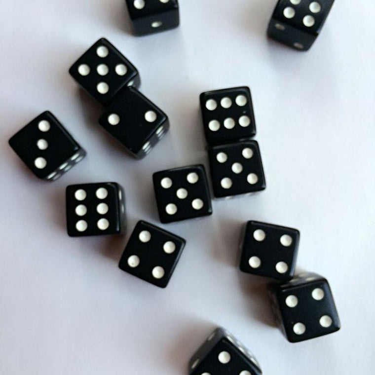 10pcs 12mm Drinking Dice Plastic Digital Dices Standard Six Sided Square Opaque Black With White Pips Game Accessories