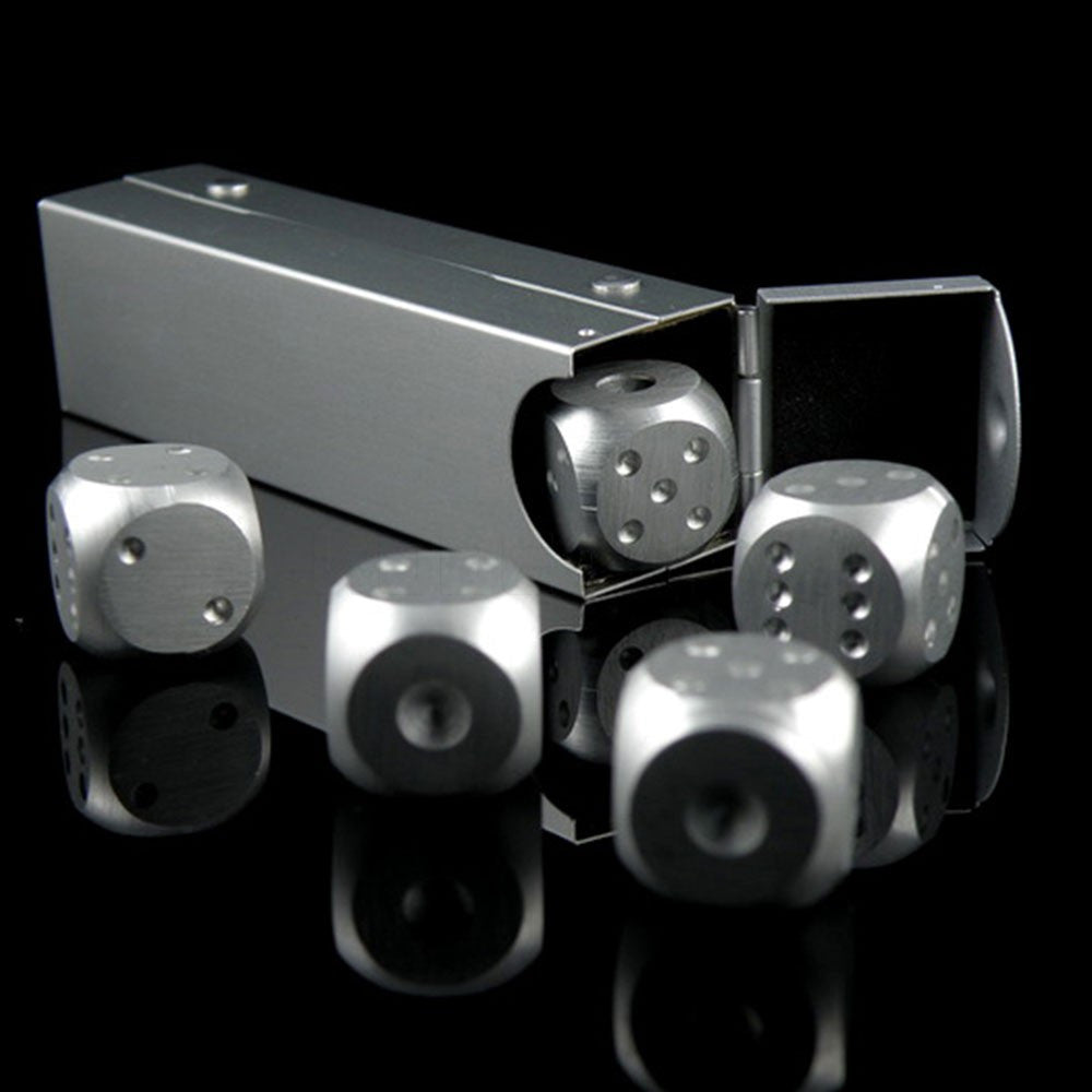 High Quality Aluminium Alloy Poker 5 pcs Silver Color Solid Dominoes Dice for Gambling Game Portable Dice