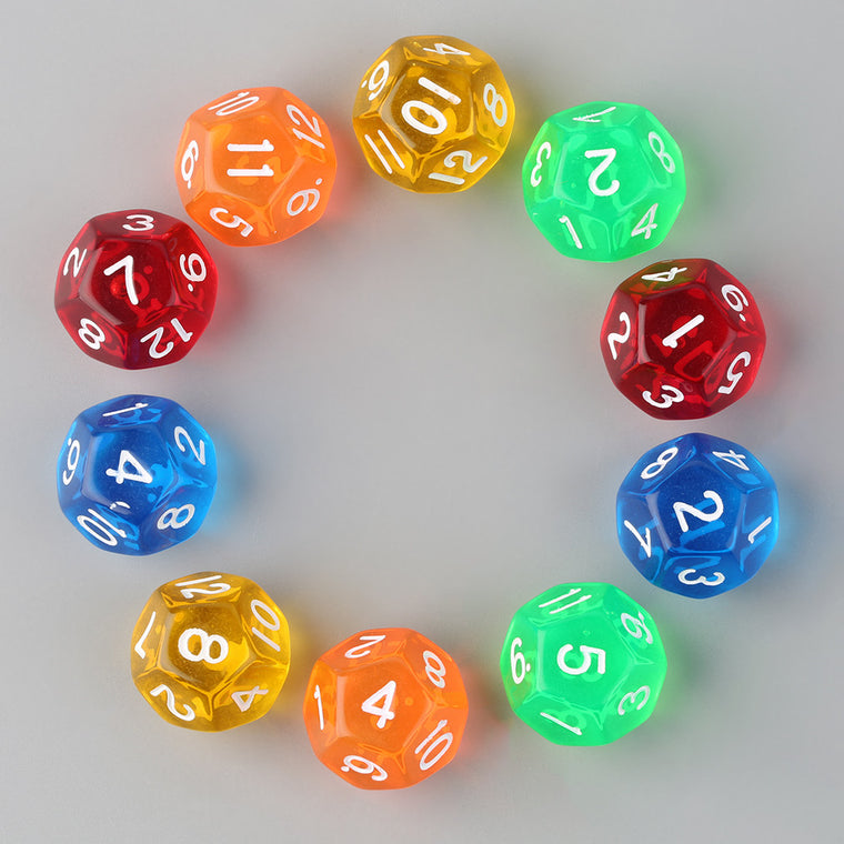 10pcs/Set Multicolor Transparent 12-Sided Role Playing Game Dices D12 Hot SellingNew Lauch