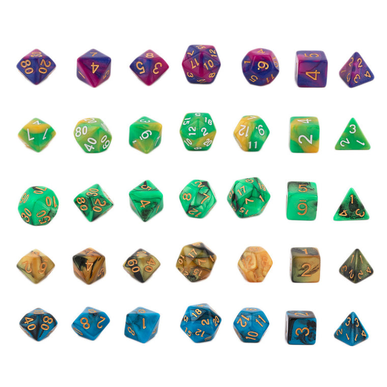 7 Pcs/Set Multi-Faceted Acrylic Dice Creative Dual Color Mixed Series Dice 16-20mm D4 D6 D8 D10 D12 D20 Free Shipping