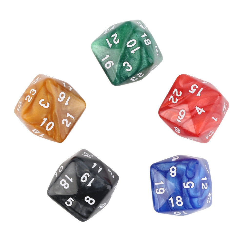 New 5pcs/Set of D24 22mm 24-Sided Board Game Playing Educational Dices New Sales Promotion
