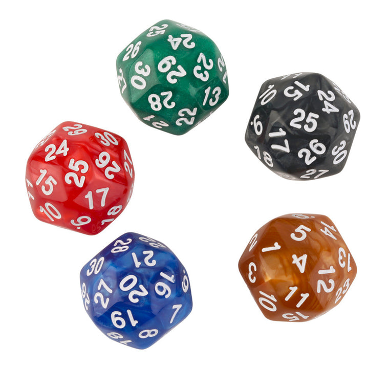 5pcs/Set Thirty-Sided D30 25mm Gaming Playing Games Dices Multi-Color Mixed Color