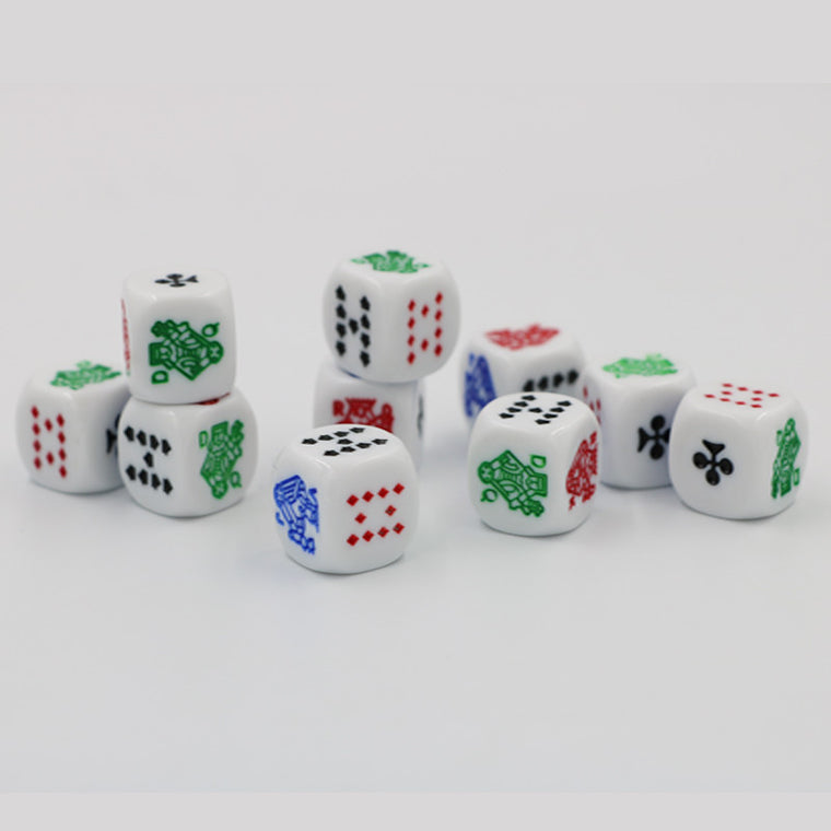 10pcs/lot Acrylic Carving Dice 16mm Tooth Yellow White #16 Round Corner High-end Poker Dice