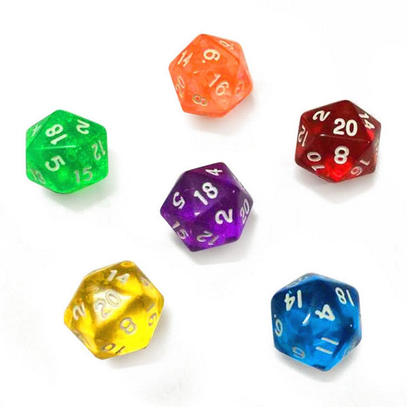 New 6pcs set Mixed color Clear D20 20 Sided Dice 20 face Digital Dice Set for TRPG Games Dungeons   Dragons Board Gaming