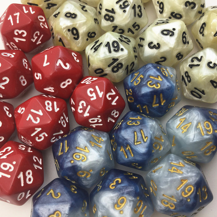 5pc T&G High Quality White 20 Sided Digital Dice With Pearlized D20 Nebula