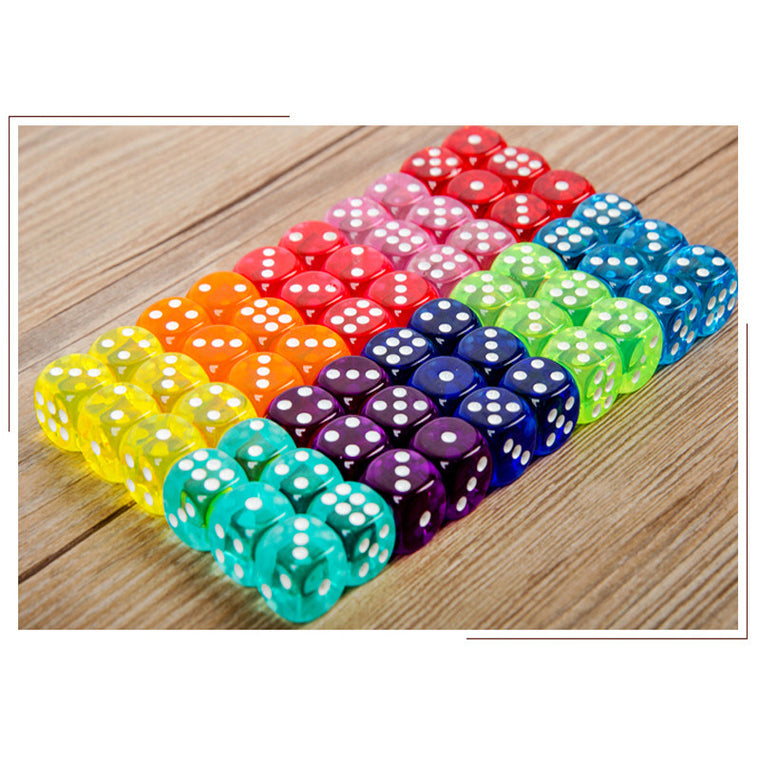 100pcs/lot Transparent Dice 14mm Toy Accessories Drink Collection Game Dice #14 Color Dice Souvenir Gift Decorations