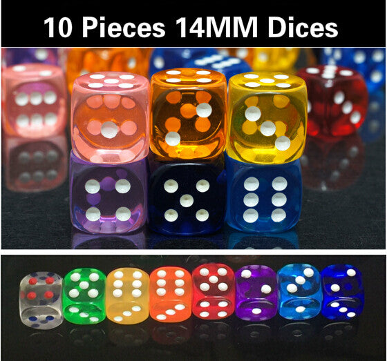 10pcs/lot High Quality 14MM 14# Colorful transparent rounded corners Dices for Bar Party Gambling and board Game GYH