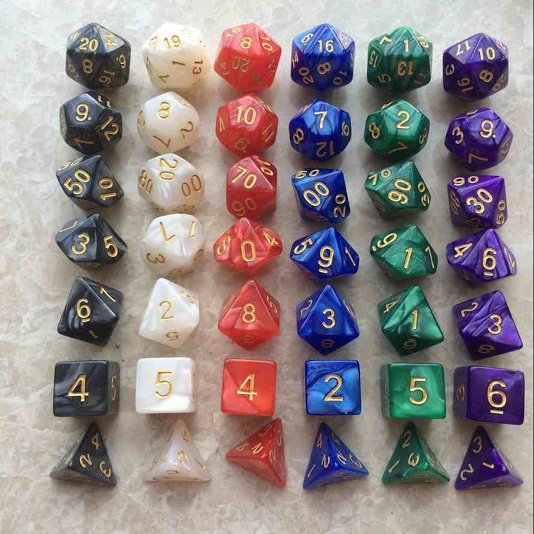 7pc/Set TRPG Dice For Dungeons Dragons D4-D20 Multi Sided Games Dices 6 Color Desktop Polyhedral Set Acrylic Plastic Toy Kit
