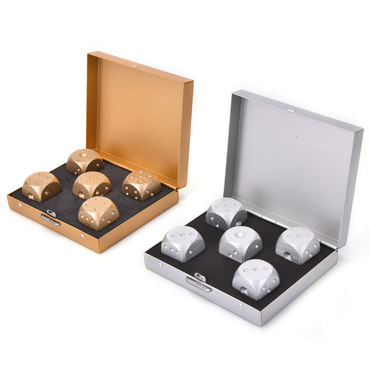 Bar Dice Aluminium Alloy Poker Silver/Gold Solid Dominoes Dice Game Portable Dice Poker Party Square Rectangle