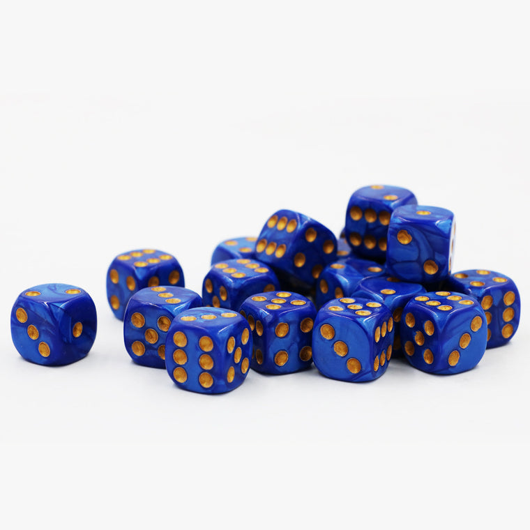 100pcs/lot Acrylic Marble Pattern Dice 16mm #16 Round Corner Blue Gold point High-end Poker Dice