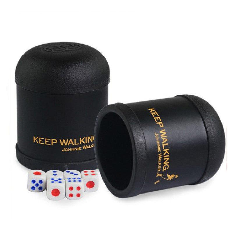 KTV Bar Plastic Colorful Gambling Casino Mushroom Head Leather Keep Walking Dice Cup With 6pcs Dice