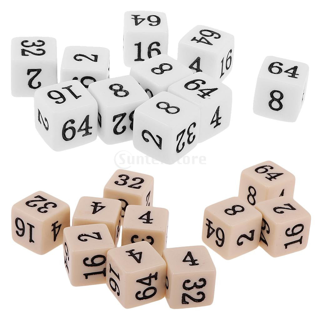 10pcs Opaque Six Sided Multiple Dice for TRPG Party Board Game Toys