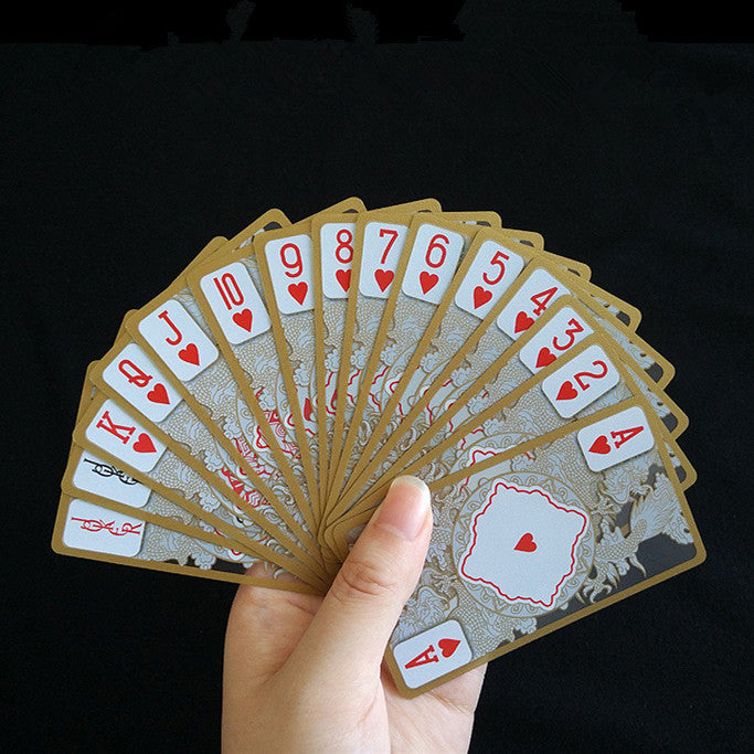 Waterproof Transparent PVC Poker Gold-plated Gold Foil Plastic Playing Cards Dragon Totem Card Novelty Magic Trick T28