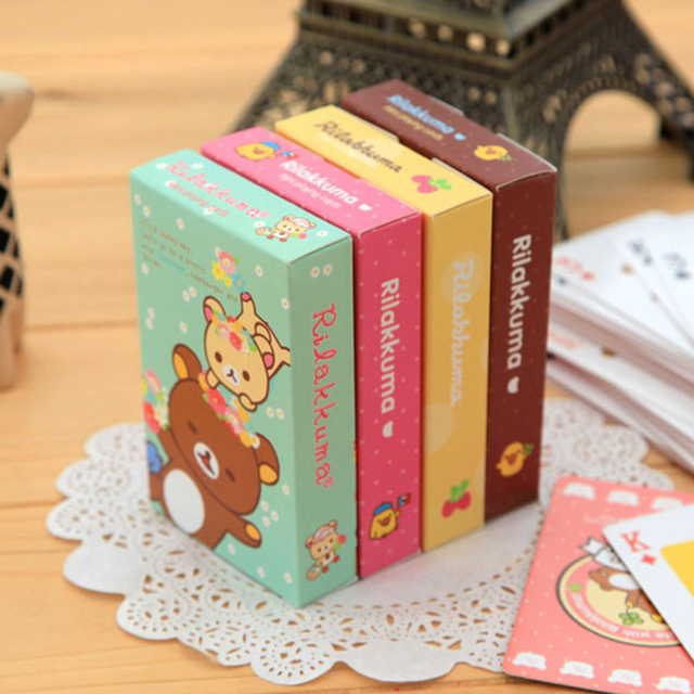 4 BOXES/LOT Korea Creative Poker Home Gift Relaxed Small Bear Entertainment Card Playing Cards Cartoon Poker Birthday Gift