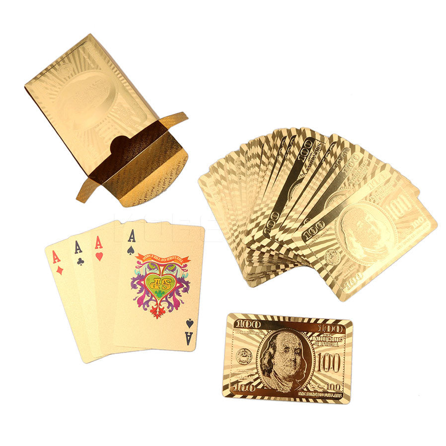 High Quality Gold Foil Plated Poker Waterproof Funny Poker Playing Card Board games Playing Card Poker Set