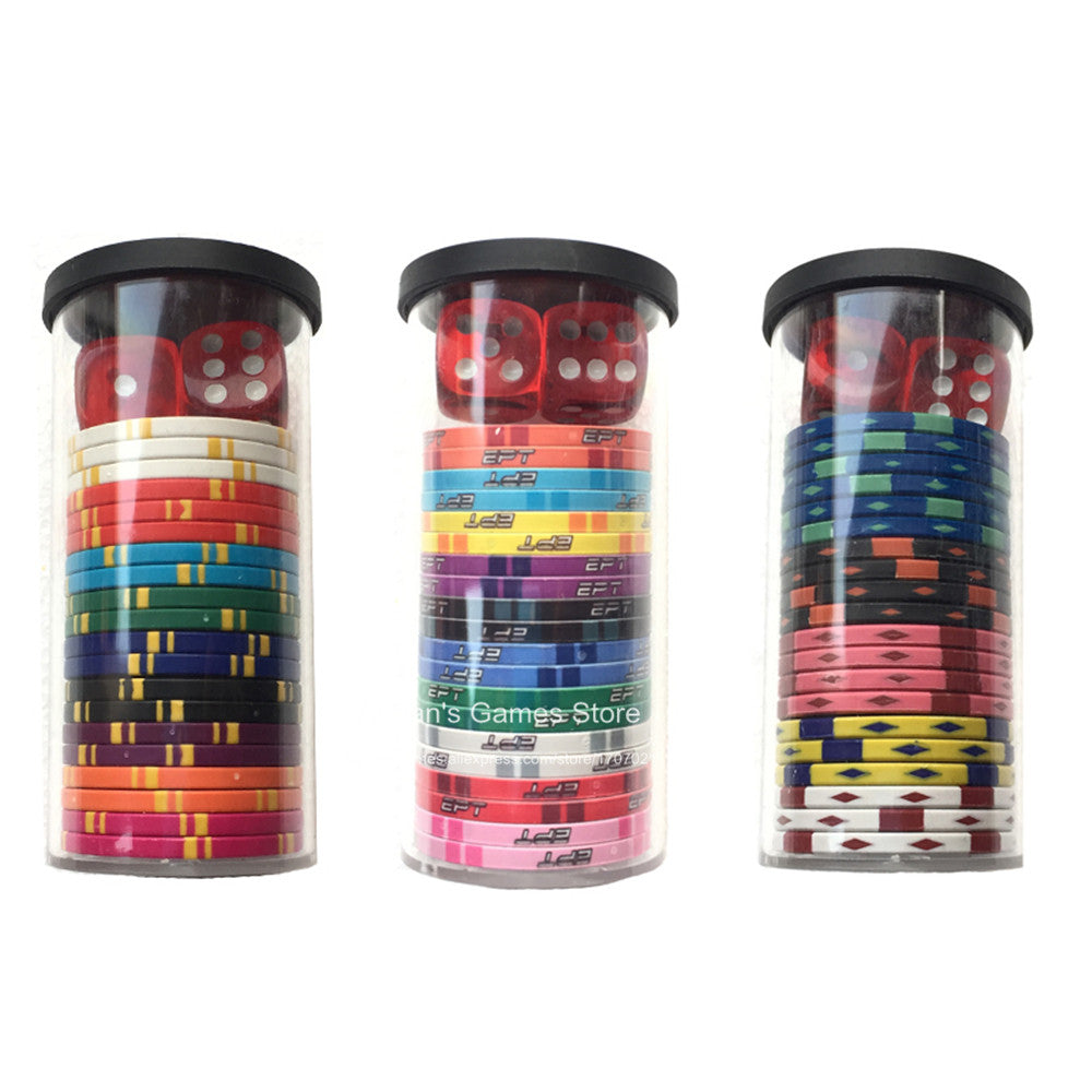 Poker chips set 20pcs chips + 2 dices + 1 case - 3 Styles family and friends gift Hilarious poker sets