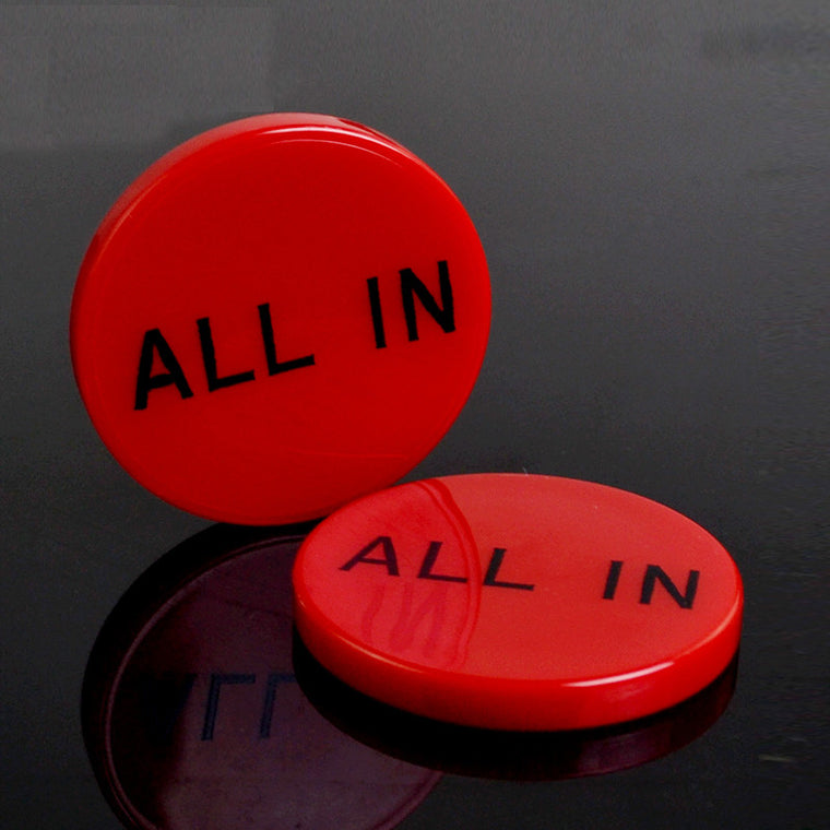 2pcs/set Red Circular ALL IN Dealer Currency Stud ALLIN Code Carving Button