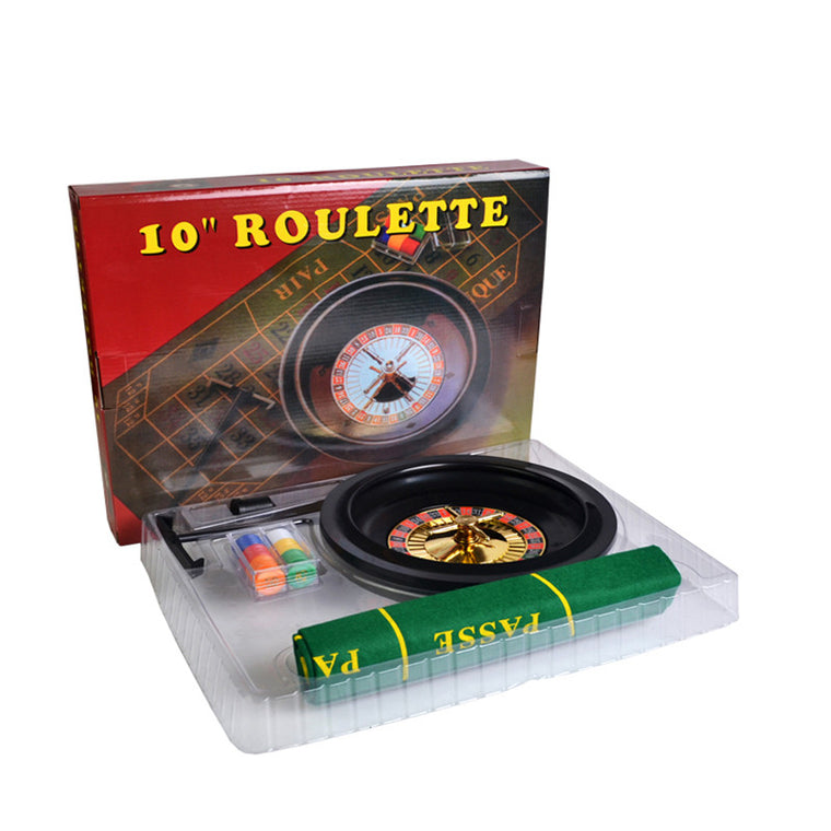 10 Inch Plastic Roulette Turntable Set With  Pulley Plate Cloth Tablecloths Stretch Chips Rake Plastic Chips