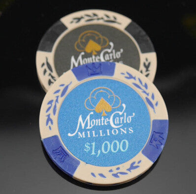 Monte Carlo Clay with metal core poker chips - Classic wheat & crown style Poker Chips Set of 10pcs 40*3.4mm 14g
