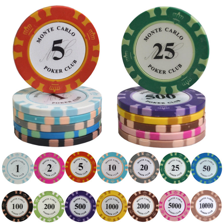100PCS/Lot Monte Carlo Design Casino Coins Texas Hold'em Clay Poker Chips Baccarat Upscale Set Crown 14g Poker Chips