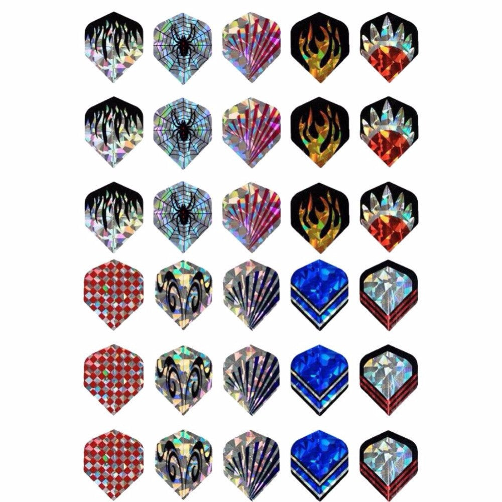 30Pcs/10Set Professional 2D Cool Bling Dart Flights Laser Tail Harrows Throwing Toy