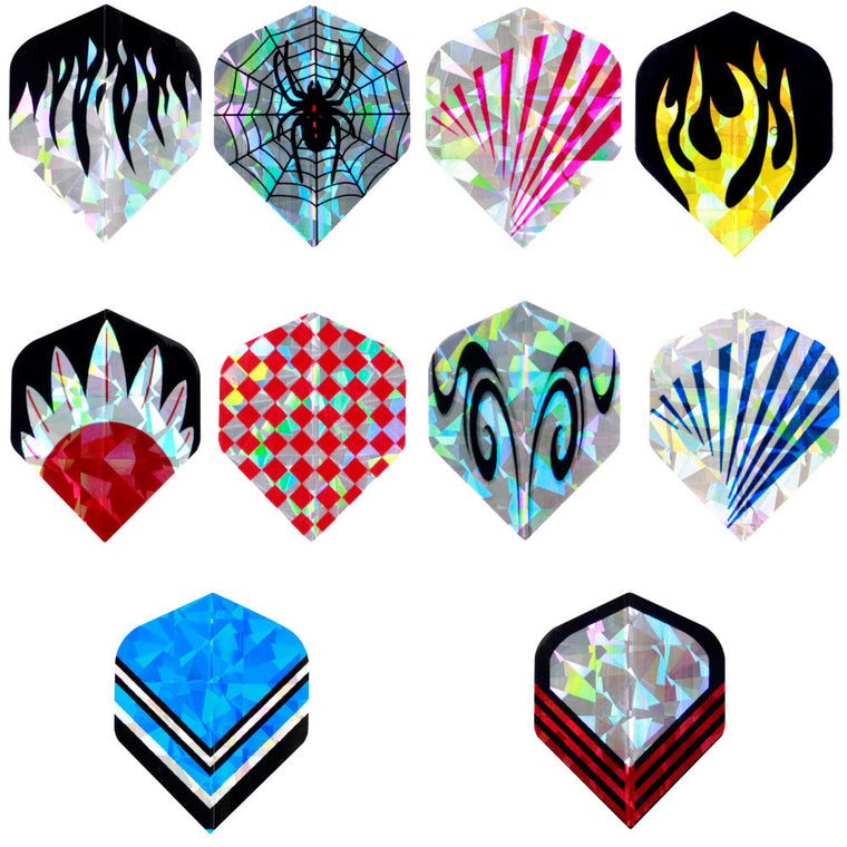 Professional 30 pcs/10 sets 2D Bling Standard Dart Flights Nice Laser Tail Flight Harrows Throwing shafts Wing Mixed Pattern