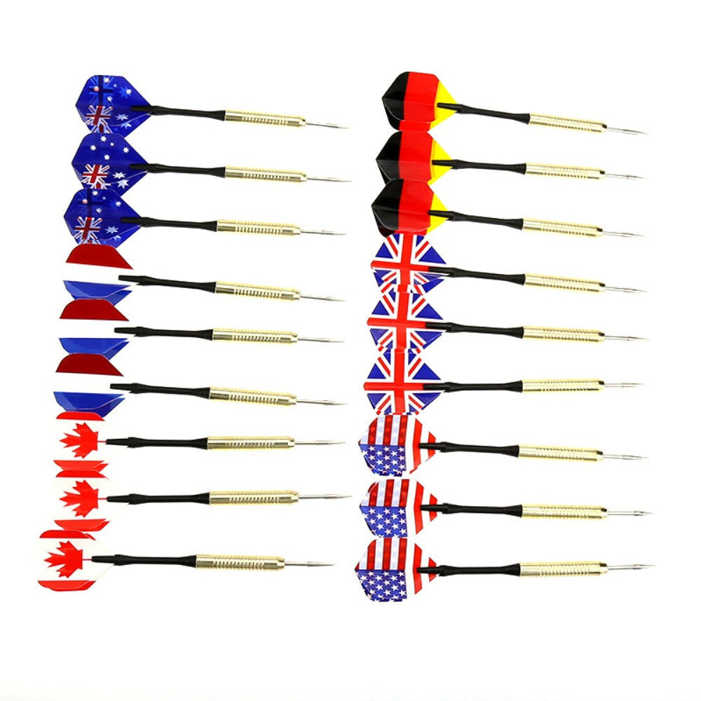 18Pcs/pack Dart Brass Tip Bar Darts With 6 National Flags Flights Throwing Toy With Tracking No.