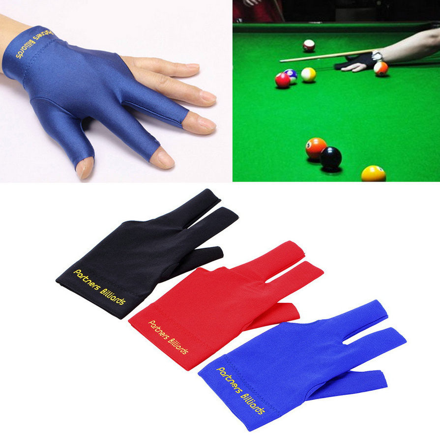 Spandex Snooker Billiard Cue Glove Pool Left Hand Open Three Finger Glove Accessory Three Colors new arrival